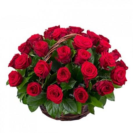 Cos 31 trandafiri rosii