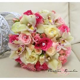 Buchet mireasa trandafiri, orhidee si miniroze