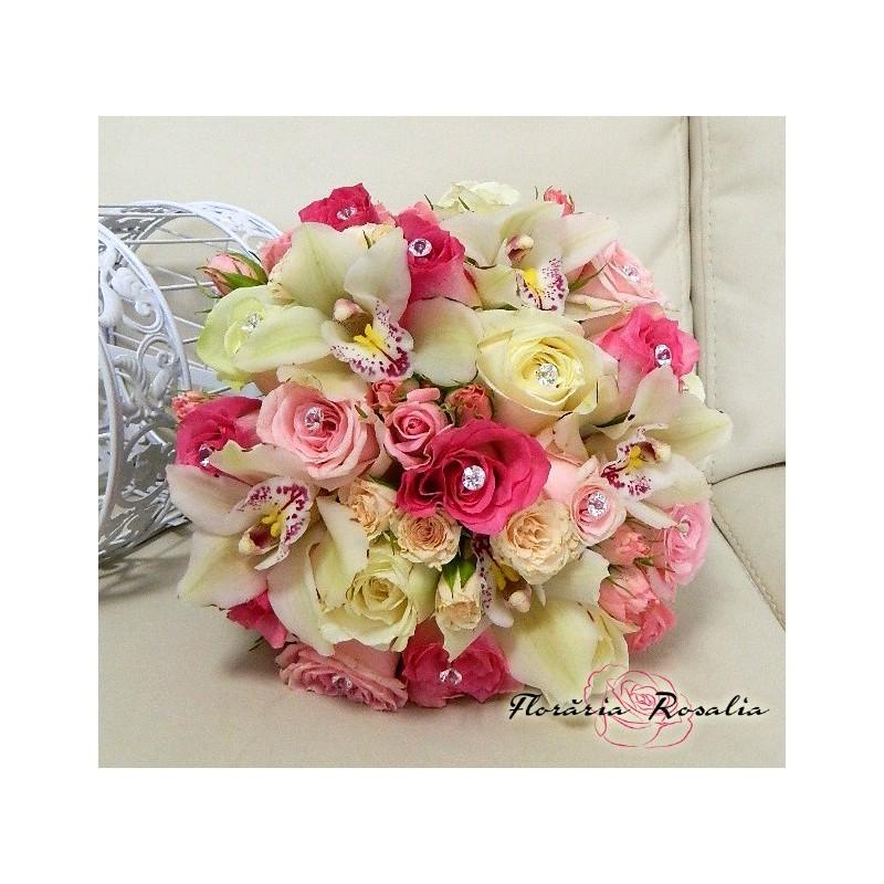 Buchet Mireasa Trandafiri Orhidee Si Miniroze