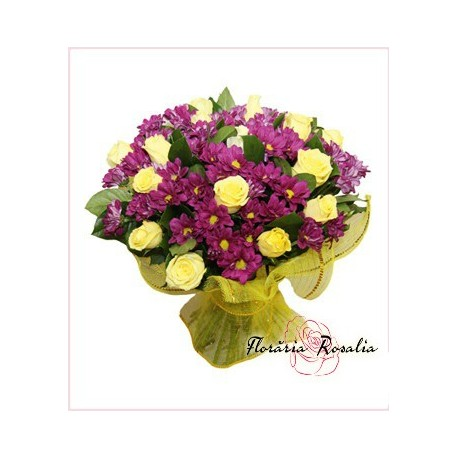 Buchet  15 trandafiri si crizanteme