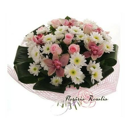 Buchet alb- roz