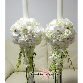 Lumanari albe cu hortensii si orhidee