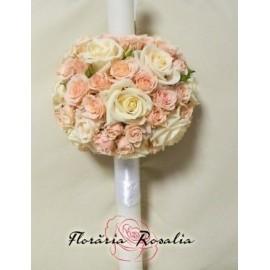 Lumanare glob cu trandafiri si miniroze