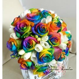 Buchet trandafiri Rainbow si frezii