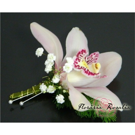 Cocarda cu orhidee alba