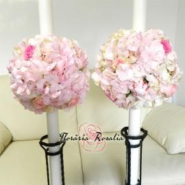 Lumanari roz cu hortensii, trandafiri si bujori