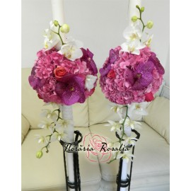Lumanari cu hortensii si orhidee fucsia