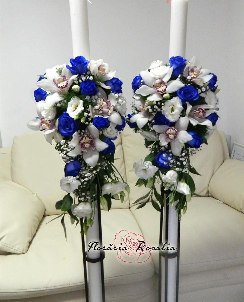 Lumanari Cu Trandafiri Albastri Si Orhidee