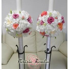 Lumanari cu hortensii, trandafiri si eustoma