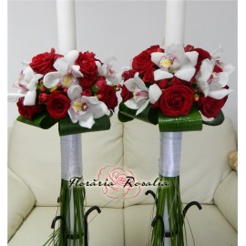 Lumanari cu trandafiri si orhidee