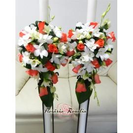 Lumanari laterale cu trandafiri Wow, frezii si orhidee