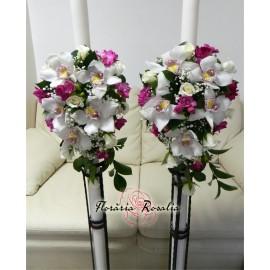 Lumanari laterale cu orhidee, trandafiri si frezii