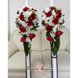 Lumanari trandafiri rosii, frezii si orhidee