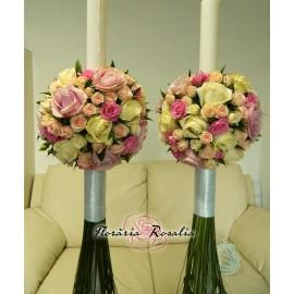 Lumanari cu  21 trandafiri si miniroze