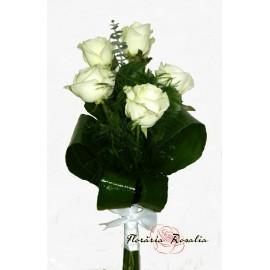 Buchet 5 trandafiri albi