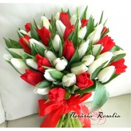 Buchet 51 lalele albe - rosii
