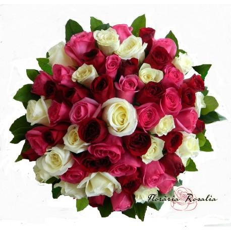 Buchet 59 trandafiri in 3 culori