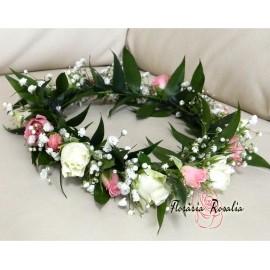 Coronita flori alb-roz
