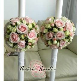 Lumanari glob cu trandafiri si miniroze