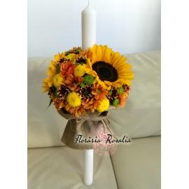 Lumanare rustica cu floarea soarelui