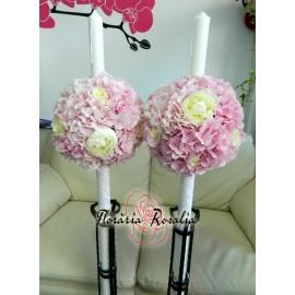Lumanari cu hortensii roz, trandafiri si bujori