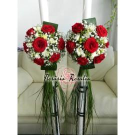 Lumanari laterale cu trandafiri si frezii