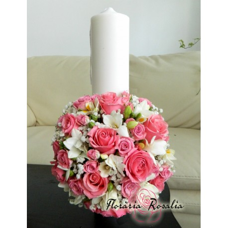 Lumanare scurta roz