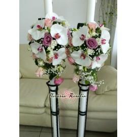 Lumanari cu orhidee phalaenopsis si trandafiri