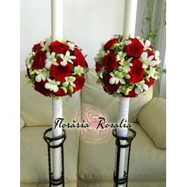 Lumanari sfera cu trandafiri rosii si orhidee