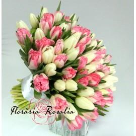 Buchet 59 lalele alb-roz