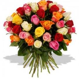 Buchet 37 trandafiri multicolori