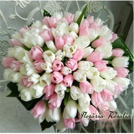 Buchet 101 lalele albe-roz