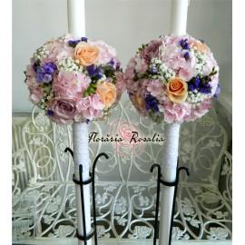Lumanari glob cu hortensii si trandafiri