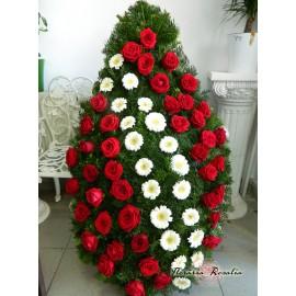 Coroana cu trandafiri si gerbere