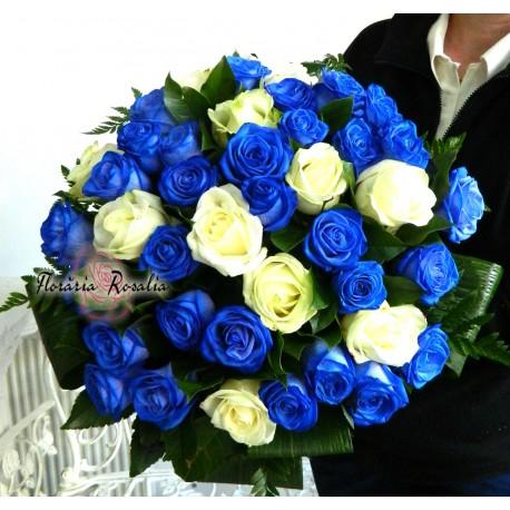 Buchet 41 trandafiri albi-albastri