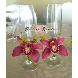 Pahare miri cu orhidee roz