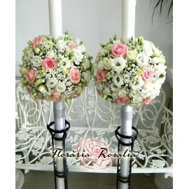 Lumanari cu trandafiri roz si eustoma