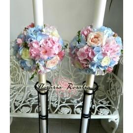 Lumanari glob cu hortensii roz-bleu