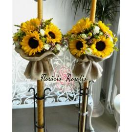 Lumanari rustice cu floarea soarelui