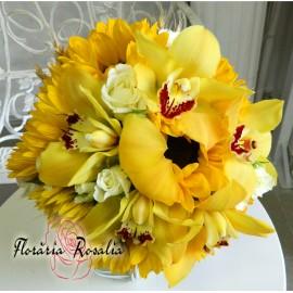 Buchet cu floarea soarelui si orhidee