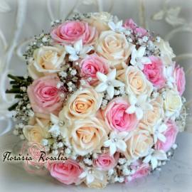 Buchet 25 trandafiri si stephanotis