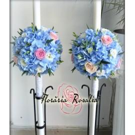 Lumanari glob cu hortensii bleu