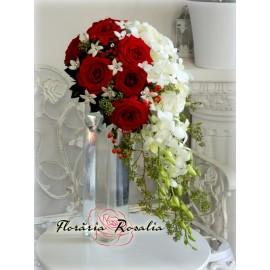Buchet cascada alb-rosu