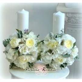 Lumanari cu hortensii si bujori albi