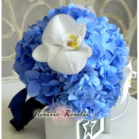 Buchet Hortensii Albastre Si Orhidee