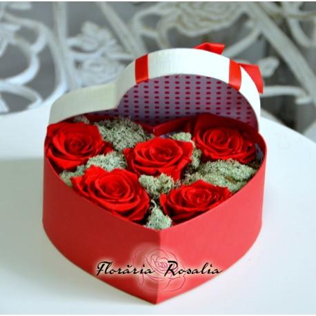Cutie inima cu 5 trandafiri stabilizati