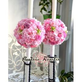 Lumanari cu hortensii, trandafiri si phalaenopsis