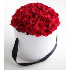 Cutie rotunda cu 51 trandafiri
