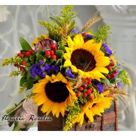 Buchet cu floarea soarelui si protea