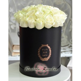 Cutie rotunda cu 29 trandafiri albi